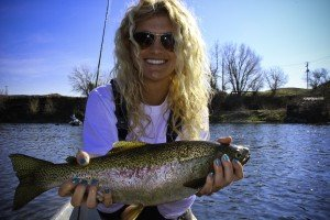 Hailey with a nice Rainbow on the Bighorn River!