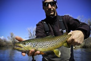 Tim on the Bighorn River with a nice brown trout!